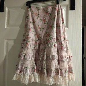 Anthropologie Odille Lace Tiered Skirt